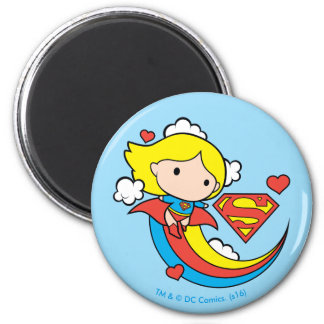 Arc-en-ciel de vol de Chibi Supergirl Magnet Rond 8 Cm