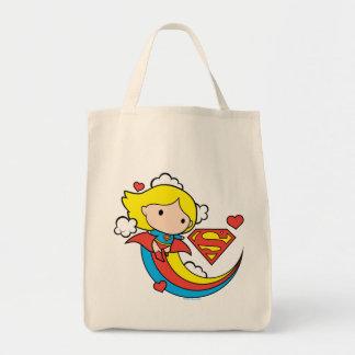 Arc-en-ciel de vol de Chibi Supergirl Tote Bag