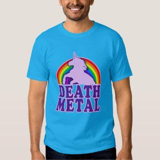 Arc-en-ciel drôle de licorne en métal de la mort t-shirts