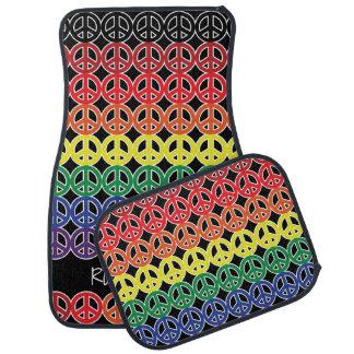 Arc-en-ciel multi de couleur de signe de paix avec tapis de voiture