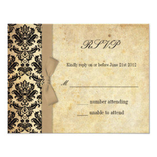 Arc en ivoire de damassé épousant RSVP Carton D'invitation 10,79 Cm X 13,97 Cm