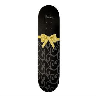 Arc noir nommé personnalisé de scintillement d'or  planches à roulettes