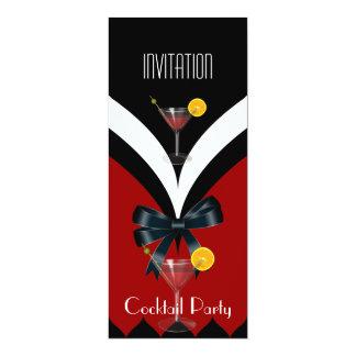 Arc noir rouge de cravate blanche de cocktail carton d'invitation  10,16 cm x 23,49 cm