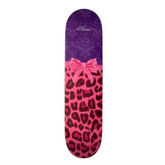 Arc pourpre de damassé de léopard rose nommé fait  skateboards personnalisés