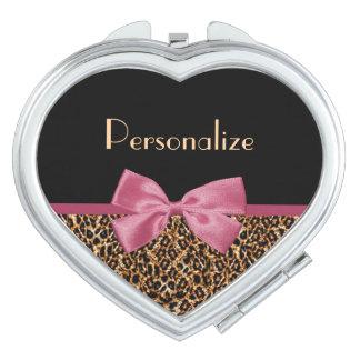 Arc rose mauve et nom d'empreinte de léopard chic miroir de maquillage