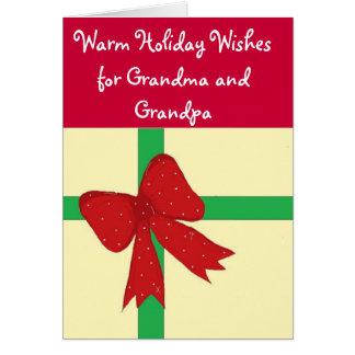 Arc rouge de grand-maman et de grand-papa carte de vœux