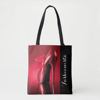 Arc rouge de talon haut rouge tote bag