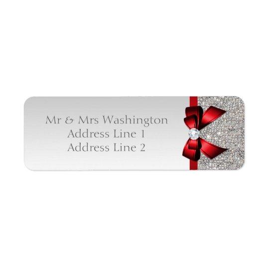 Arc rouge et diamant de paillettes argentées de étiquettes d'adresse retour