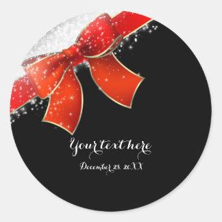 Arc rouge et faveur chic de Noël de vacances Sticker Rond