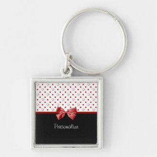 Arc rouge et noir Girly de coeurs de point de Porte-clé Carré Argenté