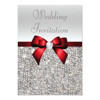 Arc rouge royal et noces de diamant de paillettes carton d'invitation  12,7 cm x 17,78 cm