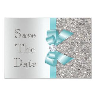 Arc turquoise de Faux et économies d'argent de Carton D'invitation 8,89 Cm X 12,70 Cm