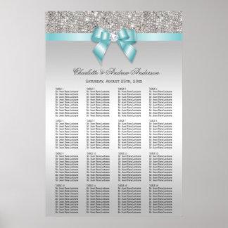Arc turquoise de paillette d'argent de diagramme poster