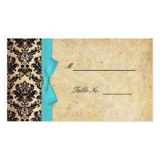 Arc vintage mariage damassé Placecards de turquois Cartes De Visite Personnelles