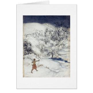 Archer dans la neige (blanc à l'intérieur) cartes