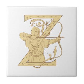 Archer médiéval visant l'aspiration de la lettre Z Petit Carreau Carré
