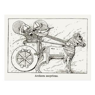 Archers assyriens, dessin vintage 1890 cartes postales