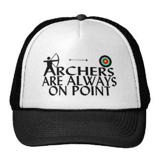 Archers sur le point casquettes
