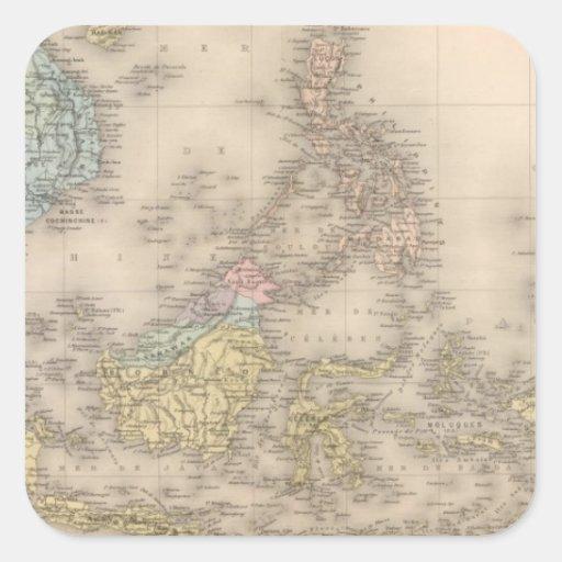 Archipel de l'Indochine de l'Asie Stickers Carrés