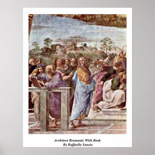 Architecte Bramante avec le livre par Raffaello Sa Posters