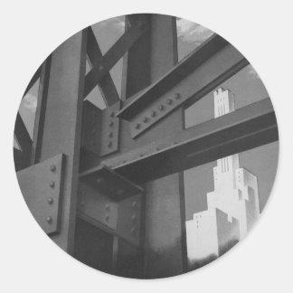 Architecture en acier vintage de gratte-ciel de sticker rond