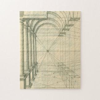 Architecture vintage, perspective de colonnes de puzzle