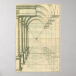 Architecture vintage, perspective de voûtes de col