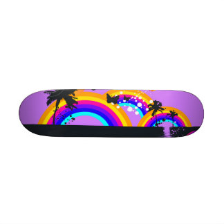 Arcs-en-ciel et planche à roulettes de papillons skateboard customisable