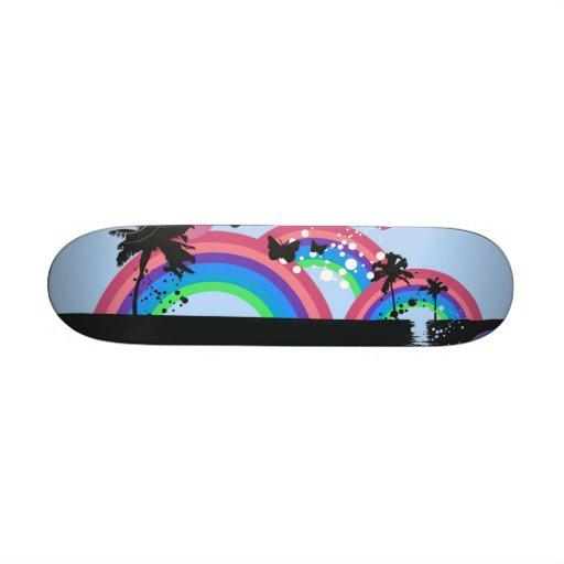 Arcs-en-ciel et planche à roulettes de papillons skateboards personnalisés
