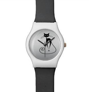Argent à la mode drôle de chat montres