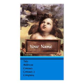 Argent bleu de saphir de monogramme d'ange à ailes carte de visite standard