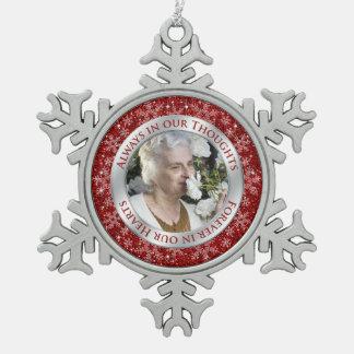 Argent commémoratif de rouge de Noël de photo Ornement Flocon De Neige Pewter