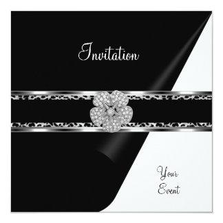 Argent d'arc de noir de bijou de diamant de carton d'invitation  13,33 cm