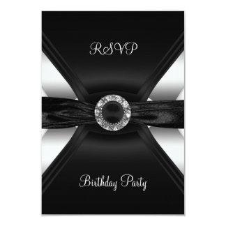 Argent de blanc de noir de bijou de diamant carton d'invitation 8,89 cm x 12,70 cm