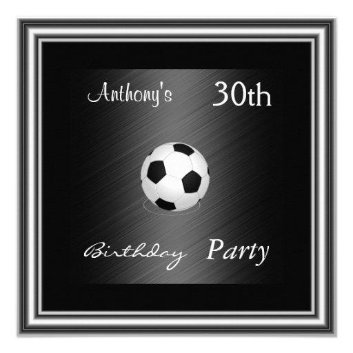 Argent de fête d'anniversaire du football d'invita faire-part personnalisables