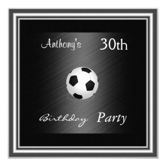 Argent de fête d'anniversaire du football faire-part personnalisables