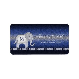 Argent de monogramme de promenade d'éléphant/ID390 Étiquettes D'adresse