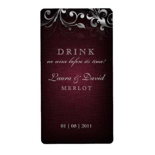Argent de toile de rouge de Bourgogne de vin de Étiquette D'expédition