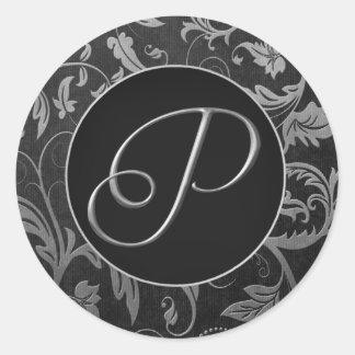 Argent du monogramme P et joint noir de mariage Sticker Rond
