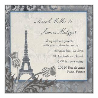 Argent écossais de chardon de Tour Eiffel Carton D'invitation 13,33 Cm