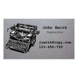 argent élégant de conception de machine à écrire modèles de cartes de visite