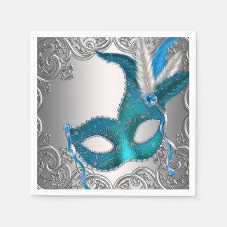 Argent élégant et partie bleue turquoise de serviettes en papier