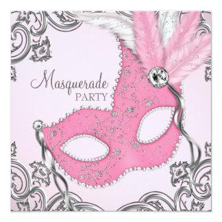Argent élégant et partie rose de mascarade carton d'invitation  13,33 cm