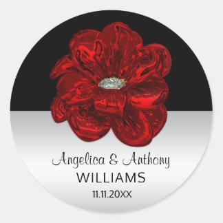 Argent élégant, noir, joints de mariage de rose sticker rond