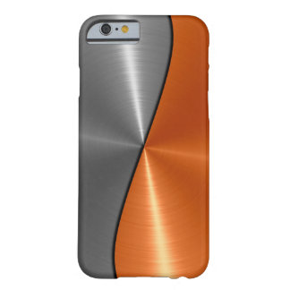 Argent et métal orange d'acier inoxydable coque iPhone 6 barely there