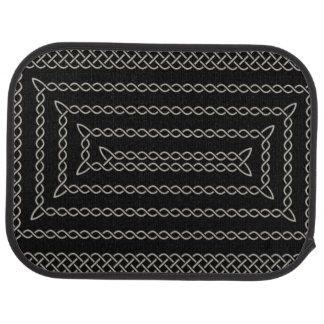 Argent et spirale rectangulaire celtique de noir tapis de sol