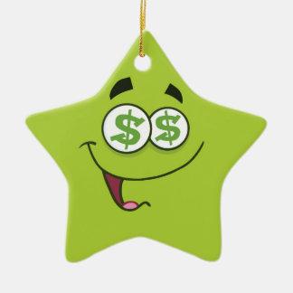 Argent heureux Emoji Ornement Étoile En Céramique