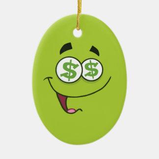 Argent heureux Emoji Ornement Ovale En Céramique