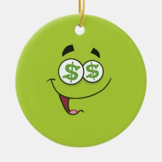 Argent heureux Emoji Ornement Rond En Céramique