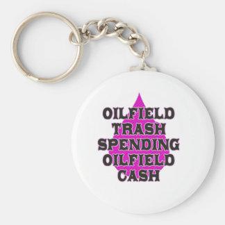 Argent liquide de gisement de pétrole de dépense porte-clé rond